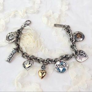 "Brighton Silver charm 9"" PEACE Statement bracelet"